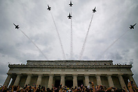 """Attendees cheer as Blue Angel fighter jets fly overheard as U.S. President Donald Trump speaks during the Fourth of July Celebration 'Salute to America' event in Washington, D.C., U.S., on Thursday, July 4, 2019. The White House said Trump's message won't be political -- Trump is calling the speech a """"Salute to America"""" -- but it comes as the 2020 campaign is heating up. <br /> h<br /> CAP/MPI/CNP<br /> ©CNP/MPI/Capital Pictures"""