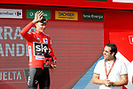 Christopher Froome (GBR) Team Sky retains the race leader's Red Jersey on the podium at the end of Stage 14 of the 2017 La Vuelta, running 175km from &Eacute;cija to Sierra de La Pandera, Spain. 2nd September 2017.<br /> Picture: Unipublic/&copy;photogomezsport | Cyclefile<br /> <br /> <br /> All photos usage must carry mandatory copyright credit (&copy; Cyclefile | Unipublic/&copy;photogomezsport)