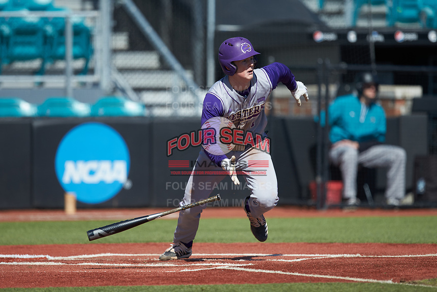 Justice Bigbie (7) of the Western Carolina Catamounts starts down the first base line against the Kennesaw State Owls at Springs Brooks Stadium on February 22, 2020 in Conway, South Carolina. The Owls defeated the Catamounts 12-0.  (Brian Westerholt/Four Seam Images)