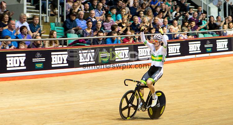 Picture by Alex Whitehead/SWpix.com - 14/03/2015 - Cycling - Revolution Series, Round 6 - National Track Centre, Manchester, England - Australia's Alex Edmondson celebrates winning the scratch race.
