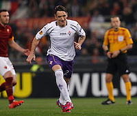 Calcio, Europa League: Ritorno degli ottavi di finale Roma vs Fiorentina. Roma, stadio Olimpico, 19 marzo 2015.<br /> Fiorentina's Gonzalo Rodriguez celebrates after scoring on a penalty kick  during the Europa League round of 16 second leg football match between Roma and Fiorentina at Rome's Olympic stadium, 19 March 2015.<br /> UPDATE IMAGES PRESS/Isabella Bonotto