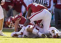 NWA Democrat-Gazette/BEN GOFF @NWABENGOFF<br /> Jordan Silver (left), Arkansas long snapper, recovers a Mississippi State fumble on a punt return in the second quarter Saturday, Nov. 2, 2019, at Reynolds Razorback Stadium in Fayetteville.