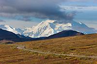 The north and south summits of Denali are visible from Highway pass along the Denali Park road, Denali National Park, Alaska.