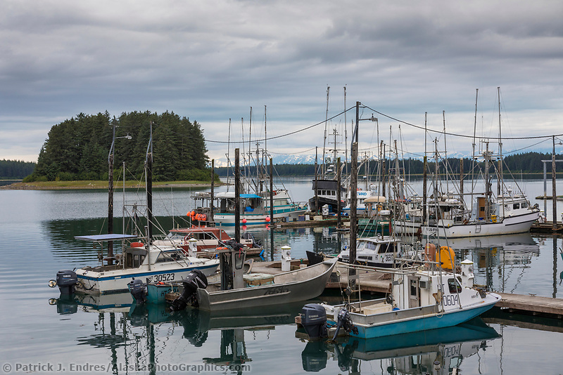 Boat harbor in the coastal town of Yakutat, Alaska.