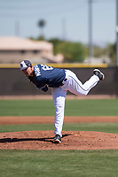 San Diego Padres starting pitcher Nick Margevicius (66) follows through on his delivery during an Extended Spring Training game against the Colorado Rockies at Peoria Sports Complex on March 30, 2018 in Peoria, Arizona. (Zachary Lucy/Four Seam Images)