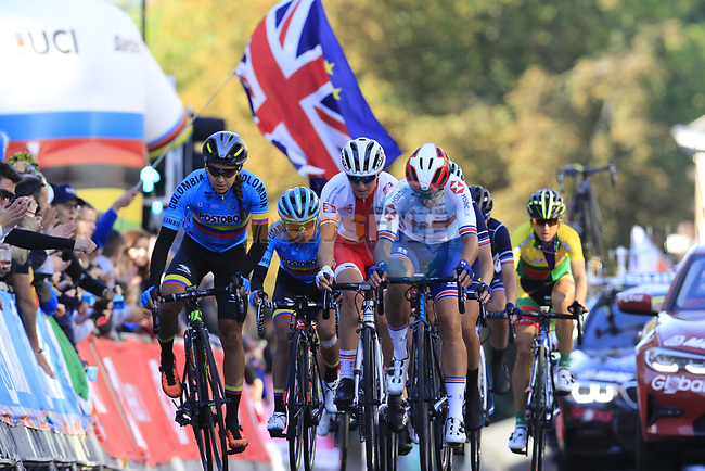 The chasing pack on the second circuit of Harrogate during the Women Elite Road Race of the UCI World Championships 2019 running 149.4km from Bradford to Harrogate, England. 28th September 2019.<br /> Picture: Eoin Clarke | Cyclefile<br /> <br /> All photos usage must carry mandatory copyright credit (© Cyclefile | Eoin Clarke)