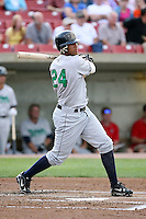 August 15 2008:  Julio Perez (24) of the Cedar Rapids Kernels, Class-A affiliate of the Los Angeles Angels of Anaheim, during a game at Philip B. Elfstrom Stadium in Geneva, IL.  Photo by:  Mike Janes/Four Seam Images