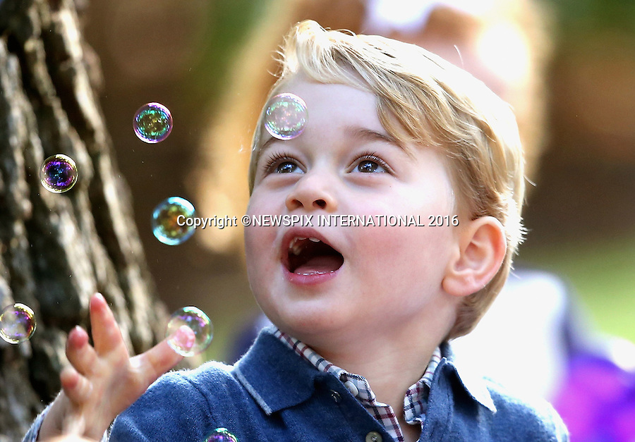 29.09.2016; Victoria, Canada: PRINCE GEORGE BLOWS BUBBLES<br /> He and sister Princess Charlotte attended a children&rsquo;s party for military families at Government House, Victoria<br /> Prince George and Princess Charlotte are accompaning their parents the Duke and Duchess of Cambridge on their tour of Canada.<br /> Mandatory Photo Credit: &copy;NEWSPIX INTERNATIONAL<br /> <br /> IMMEDIATE CONFIRMATION OF USAGE REQUIRED:<br /> Newspix International, 31 Chinnery Hill, Bishop's Stortford, ENGLAND CM23 3PS<br /> Tel:+441279 324672  ; Fax: +441279656877<br /> Mobile:  07775681153<br /> e-mail: info@newspixinternational.co.uk<br /> Usage Implies Acceptance of OUr Terms &amp; Conditions<br /> Please refer to usage terms. All Fees Payable To Newspix International