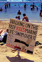 This sign posted on the beach at Hanauma Bay informs visitors to respect Hawaii's fragile marine environment.