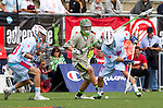 Costa Mesa, CA 06/08/13 - Ian Mills (Team STX #33), Chad Costello (Team STX #31) and Scott Bollert (Team Maverik #22) in action during the inaugural game of the LXMPRO Tour in Orange County.  The Team STX defeated Team Maverik 14-13 at Orange Coast College's Bard Stadium.