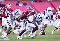 Mississippi State Bulldogs vs Arkansas Razorback - Arkansas  Freshman A'Montae Spivey (24) fumbed the ball which was recovered by Mississippi State's Willie Gay Jr. (6) late in the 4th quarter<br /><br /> at Donald W. Reynolds Stadium, Fayetteville, on Saturday, November 2, 2019 / Special to NWA Democrat Gazette David Beach