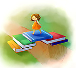 Illustrative image of girl crossing bridge made from books over stream representing overcoming obstacles in education