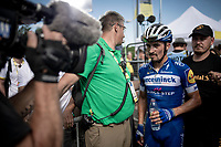"""""""cheeky"""" Julian Alaphilippe (FRA/Deceuninck - Quick-Step) optaining the yellow jersey / GC lead (once again) after finishing 3rd in Saint-Étienne<br /> <br /> Stage 8: Mâcon to Saint-Étienne(200km)<br /> 106th Tour de France 2019 (2.UWT)<br /> <br /> ©kramon"""