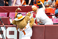 Landover, MD - September 1, 2018: Texas Longhorns fans take a selfie with the mascot before game between Maryland and No. 23 ranked Texas at FedEx Field in Landover, MD. The Terrapins upset the Longhorns in back to back season openers with a 34-29 win. (Photo by Phillip Peters/Media Images International)