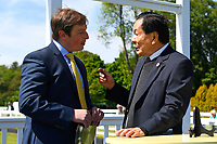 Connections of Rumble in the Jungle chat to the sponsor of the The Penang Turf Club Malaysia Novice Stakes (Plus 10 Race) (Class 4) during Afternoon Racing at Salisbury Racecourse on 17th May 2018