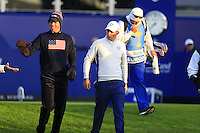 Justin Rose (EUR) and Matt Kuchar (USA) walk off the 1st tee to start Saturday Mornings Fourball Matches of the Ryder Cup 2014 played on the PGA Centenary Course at the Gleneagles Hotel, Auchterarder, Scotland.: Picture Eoin Clarke, www.golffile.ie: 27th September 2014