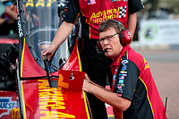 Apr 12, 2019; Baytown, TX, USA; David Grubnic, crew chief for NHRA top fuel driver Brittany Force (not pictured) during qualifying for the Springnationals at Houston Raceway Park. Mandatory Credit: Mark J. Rebilas-USA TODAY Sports
