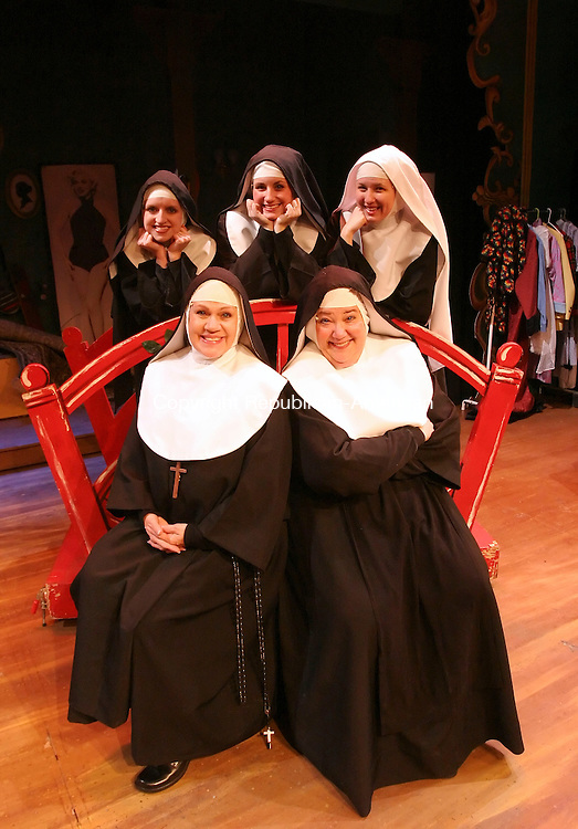 WATERBURY, CT 01/08/08-010808BZ19- Back row from left- Cathy Wilcox as &quot;Sister Robert Anne&quot; , Shannon-Courtney Porper as &quot;Sister Amnesia&quot;, and Jillian Vollentine as &quot;Sister Leo&quot; and (Front Row from left) Joyce jeffrey as &quot;Reverend Mother&quot; and Trish Torello as &quot;Sister Hubert&quot; during rehearsal for Nunsense II at the Seven Angels theater in Waterbury Tuesday night. <br /> Jamison C. Bazinet Republican-American