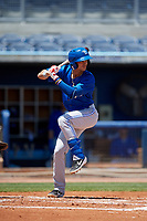 Dunedin Blue Jays Kevin Vicuna (3) at bat during a Florida State League game against the Charlotte Stone Crabs on April 17, 2019 at Charlotte Sports Park in Port Charlotte, Florida.  Charlotte defeated Dunedin 4-3.  (Mike Janes/Four Seam Images)