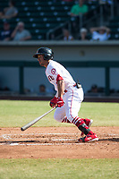 Mesa Solar Sox second baseman Jahmai Jones (9), of the Los Angeles Angels organization, starts down the first base line during an Arizona Fall League game against the Peoria Javelinas at Sloan Park on October 24, 2018 in Mesa, Arizona. Mesa defeated Peoria 4-3. (Zachary Lucy/Four Seam Images)