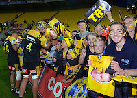 Fans wait for autographs after the Super Rugby match between the Hurricanes and Jaguares at Westpac Stadium, Wellington, New Zealand on Saturday, 9 April 2016. Photo: Dave Lintott / lintottphoto.co.nz