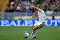 """calcio piazzato di Tommaso Allan Italia.<br /> Roma 22-02-2014, Stadio Olimpico. Sei Nazioni di Rugby / Rugby Six Nations - Italia vs Scozia / Italy vs Scotland - Foto """"Antonietta Baldassarre"""" Insidefoto"""