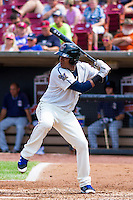 Wisconsin Timber Rattlers outfielder Juan Ortiz (7) at the plate during a Midwest League game against the Lake County Captains on July 24, 2016 at Fox Cities Stadium in Appleton, Wisconsin. Lake County defeated Wisconsin 6-2. (Brad Krause/Four Seam Images)