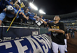 Norichika Aoki (Royals),<br /> OCTOBER 5, 2014 - MLB :<br /> Norichika Aoki of the Kansas City Royals celebrates with fans after winning the American League Division Series (ALDS) Game 3 against the Los Angeles Angels at Kauffman Stadium in Kansas City, Missouri, United States. (Photo by AFLO)