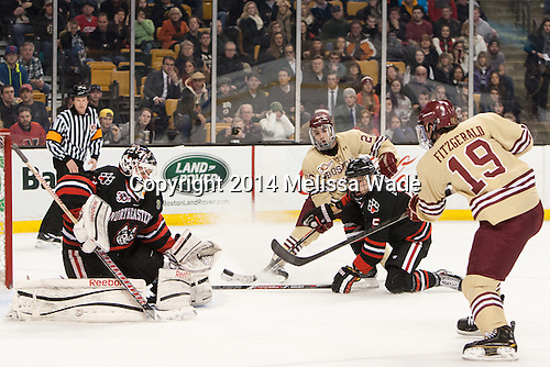Clay Witt (NU - 31), Austin Cangelosi (BC - 26), Matt Benning (NU - 5), Ryan Fitzgerald (BC - 19) - The Boston College Eagles defeated the Northeastern University Huskies 4-1 (EN) on Monday, February 10, 2014, in the 2014 Beanpot Championship game at TD Garden in Boston, Massachusetts.
