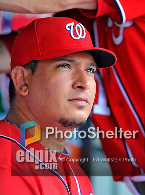 20 May 2012: Washington Nationals catcher Carlos Maldonado looks out from the dugout prior to a game against the Baltimore Orioles at Nationals Park in Washington, DC. The Nationals defeated the Orioles 9-3 to salvage the third game of their 3-game series. Mandatory Credit: Ed Wolfstein Photo
