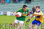 Kerry's Micheal Burns and Clare's Kieran Malone in action at Austin Stack park, Tralee on Saturday.