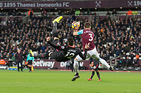 Olivier Giroud of Arsenal attempt an overhead shot at goal during the Premier League match between West Ham United and Arsenal at the Olympic Park, London, England on 13 December 2017. Photo by Andy Rowland.