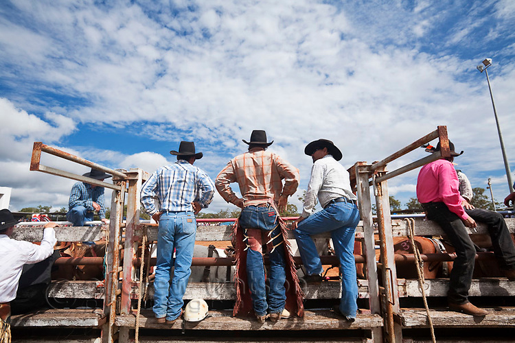 Cowboys at the Mt Garnet Rodeo.  Mt Rodeo, Queensland, Australia