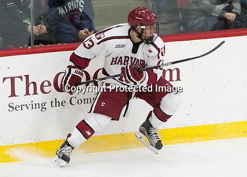Greg Gozzo (Harvard - 13) - The Harvard University Crimson defeated the visiting Colgate University Raiders 7-4 (EN) on Saturday, February 20, 2016, at Bright-Landry Hockey Center in Boston, Massachusetts,