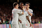 England's Raheem Sterling (R) and Kieran Trippier (L) celebrate goal during UEFA Nations League 2019 match between Spain and England at Benito Villamarin stadium in Sevilla, Spain. October 15, 2018. (ALTERPHOTOS/A. Perez Meca)