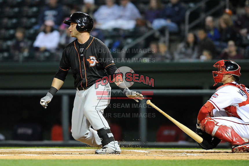 First baseman Christian Walker (23) of the Delmarva Shorebirds bats in a game against the Greenville Drive on Saturday, April 27, 2013, at Fluor Field at the West End in Greenville, South Carolina. Greenville won, 5-4. (Tom Priddy/Four Seam Images)