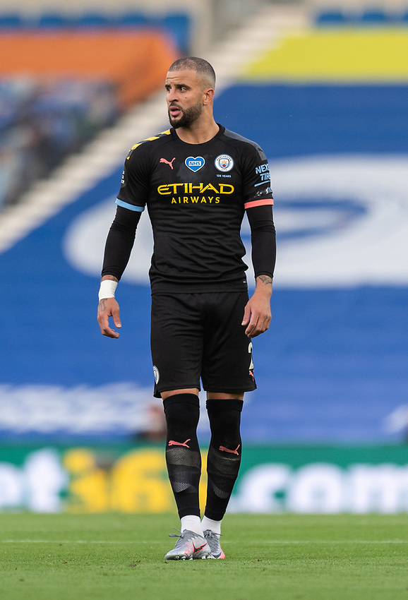 Manchester City's Kyle Walker <br /> <br /> Photographer David Horton/CameraSport<br /> <br /> The Premier League - Brighton & Hove Albion v Manchester City - Saturday 11th July 2020 - The Amex Stadium - Brighton<br /> <br /> World Copyright © 2020 CameraSport. All rights reserved. 43 Linden Ave. Countesthorpe. Leicester. England. LE8 5PG - Tel: +44 (0) 116 277 4147 - admin@camerasport.com - www.camerasport.com