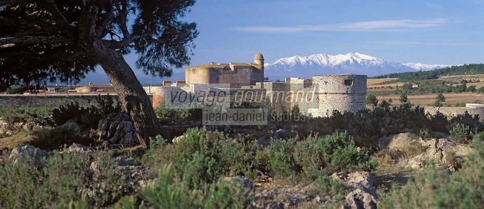 Europe/France/Languedoc-Rousillon/66/Pyrénées-Orientales/Salses: le chteau et le Mont Canigou enneigé en fond