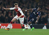 2nd November 2017, Emirates Stadium, London, England; UEFA Europa League group stage, Arsenal versus Red Star Belgrade; Rob Holding of Arsenal and Richmond Boakye of Red Star Belgrade compete for the ball