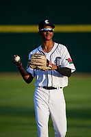 Connecticut Tigers left fielder Eric De La Rosa (19) warms up before a game against the Hudson Valley Renegades on August 20, 2018 at Dodd Stadium in Norwich, Connecticut.  Hudson Valley defeated Connecticut 3-1.  (Mike Janes/Four Seam Images)