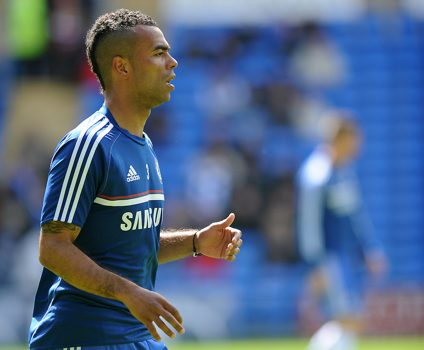 Chelsea's Ashley Cole during the pre-match warm-up <br /> <br /> Photographer Ashley Crowden/CameraSport<br /> <br /> Football - Barclays Premiership - Cardiff City v Chelsea - Sunday 11th May 2014 - Cardifff City Stadium - Cardiff<br /> <br /> &copy; CameraSport - 43 Linden Ave. Countesthorpe. Leicester. England. LE8 5PG - Tel: +44 (0) 116 277 4147 - admin@camerasport.com - www.camerasport.com