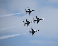 FORT LAUDERDALE FL : The U.S. Air Force Thunderbirds perform at the Lauderdale Air Show in Fort Lauderdale, Florida. <br />
