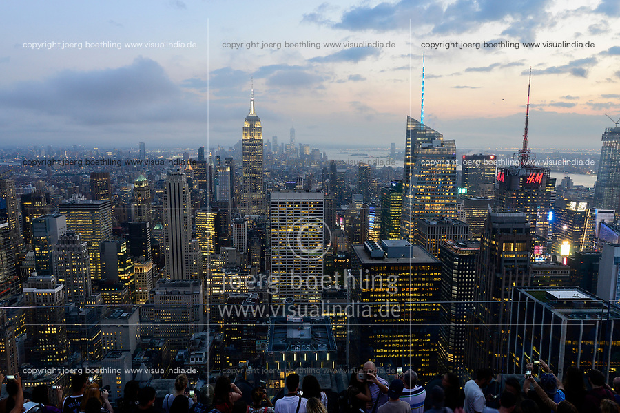 USA, New York City, Manhattan Skyline with view to Empire State Building from observing deck of Rockefeller Center, top of the rock