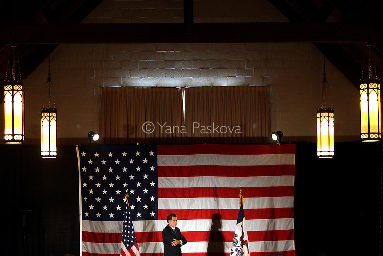 Republican presidential hopeful and former Massachusetts Governor Mitt Romney addresses supporters during a campaign stop at Simpson College in Indianola, Iowa June 30, 2007.