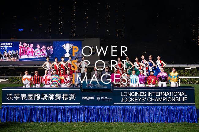 Jockeys pose for photos as part of International Jockeys Championship during Hong Kong Racing at Happy Valley Race Course on December 06, 2017 in Hong Kong, Hong Kong. Photo by Marcio Rodrigo Machado / Power Sport Images