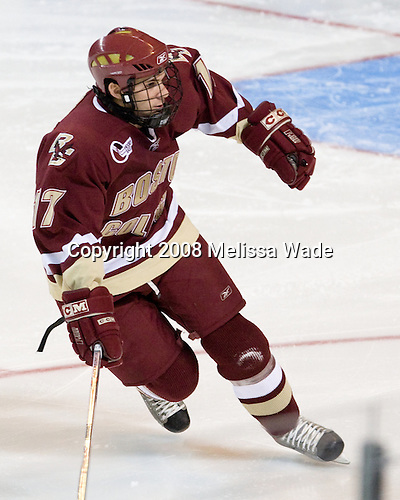 Brian Gibbons (BC - 17) - The Boston College Eagles defeated the Miami University RedHawks 4-3 in overtime on Sunday, March 30, 2008 in the NCAA Northeast Regional Final at the DCU Center in Worcester, Massachusetts.
