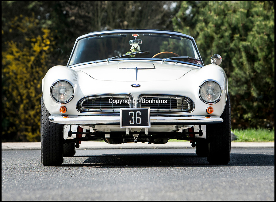 BNPS.co.uk (01202 558833)Pic: Bonhams/BNPS<br /> <br /> A sporty BMW which was originally owned by Prince William's godfather, Prince Constantine, is up for sale for a world-record fee of £2.2m.<br /> <br /> A vintage BMW that originally belonged to Prince William's godfather has emerged for sale at auction for a world-record £2.2m.<br /> <br /> The 507 Roadster was delivered new to Prince Constantine of Greece in 1959 and was one of the most sporty and stylish cars of the era.<br /> <br /> Constantine, who later became the last King of Greece between 1963 and 1974, was a keen athlete in his youth and even won a rowing gold medal at the 1960 Olympics.<br /> <br /> He wanted a car to reflect his sporty personality and the stunning 507 fit the bill perfectly.<br /> <br /> The white classic has a V8 engine and is capable of around 120mph, a fact which no doubt appealed to the young Prince.