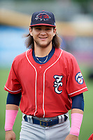 New Hampshire Fisher Cats shortstop Bo Bichette (5) during warmups before the first game of a doubleheader against the Harrisburg Senators on May 13, 2018 at FNB Field in Harrisburg, Pennsylvania.  Harrisburg defeated New Hampshire 2-1.  (Mike Janes/Four Seam Images)