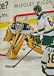 20 February 2016: University of Vermont Catamount Goaltender Packy Munson, a Freshman from Hugo, MN, looks back to see the puck behind him as the Boston College Eagles' score their go-ahead goal in the third period at Gutterson Fieldhouse in Burlington, Vermont. The Eagles defeated the Catamounts 4-1 in the second game of their weekend series. Mandatory Credit: Ed Wolfstein Photo *** RAW (NEF) Image File Available ***