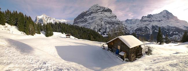 Swiss chalets on the alpine slopes under winter snow near Bort - Grindelwald, Swiss Alps, Switzerland